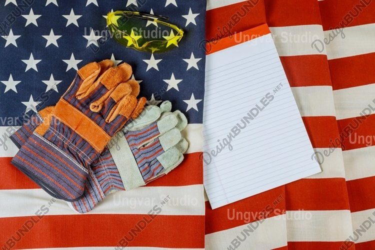 Happy labor day in the construction leather gloves of United example image 1