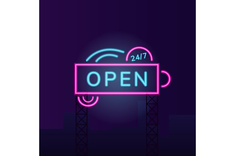 Convenience store vector neon light board sign illustration example image 1