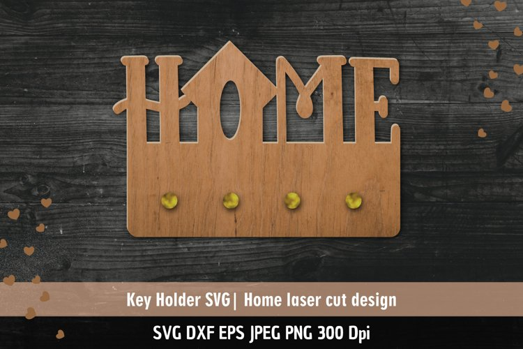Home SVG  Key holder Laser cutting template example image 1