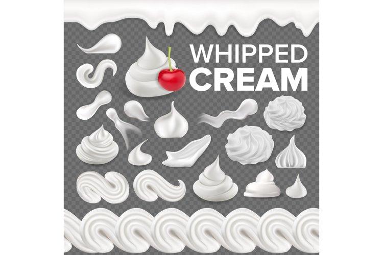 Whipped Cream Set Vector. White Creamy Swirl. Vanilla Milk example image 1