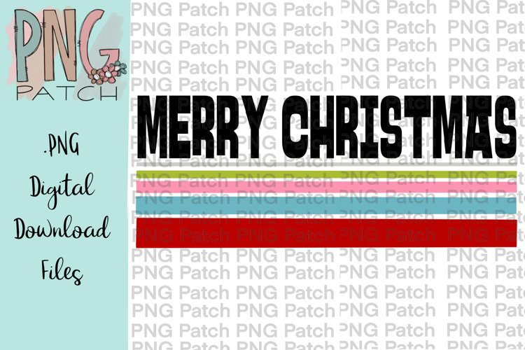 Merry Christmas, Colorful Retro Design, Christmas PNG File example image 1