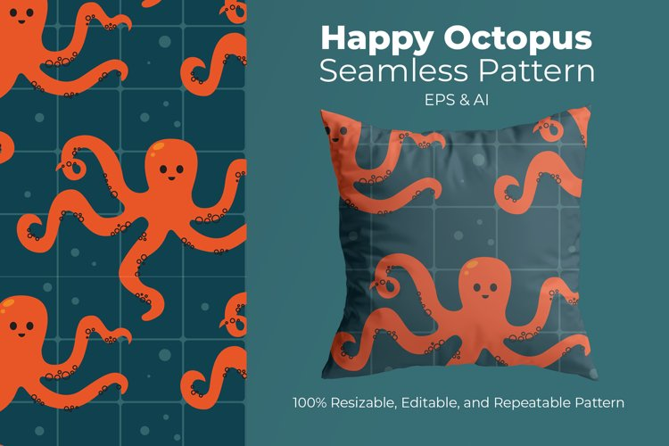 Happy Octopus - Seamless Pattern example image 1