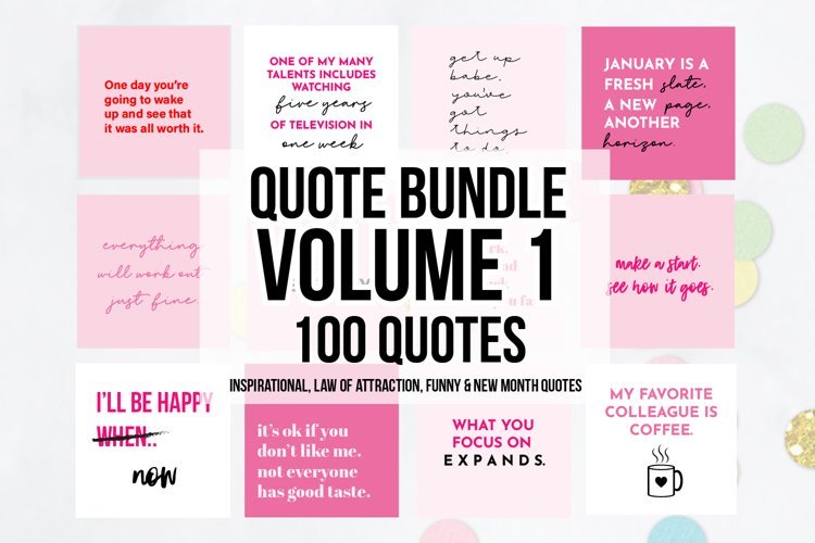 100 x Pink Social Media Quotes Bundle