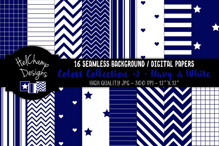 16 seamless Digital Papers - Navy and White- HC133