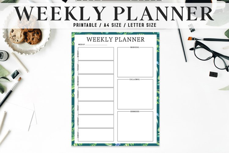 Artistic Weekly Planner Printable Template example image 1