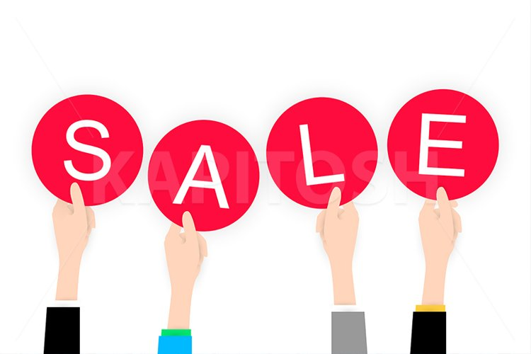 White flat Hands holding sale label example image 1