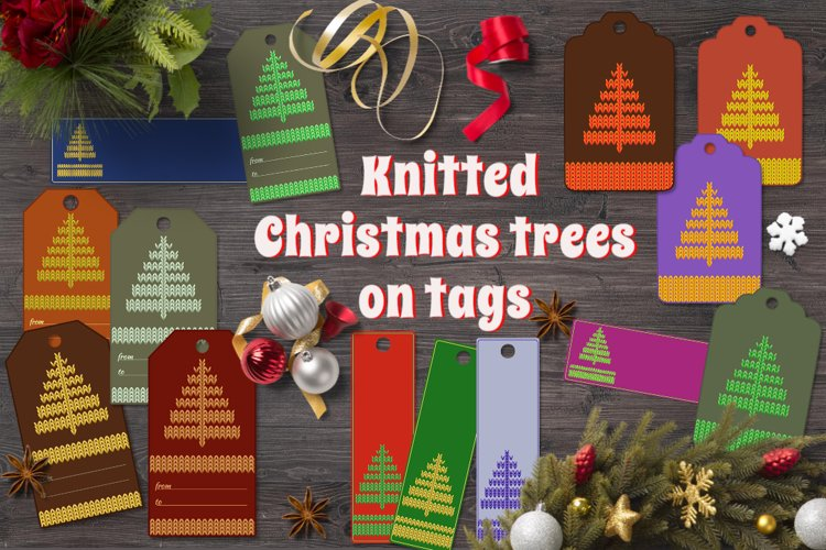 Christmas labels with knitted fir trees example image 1