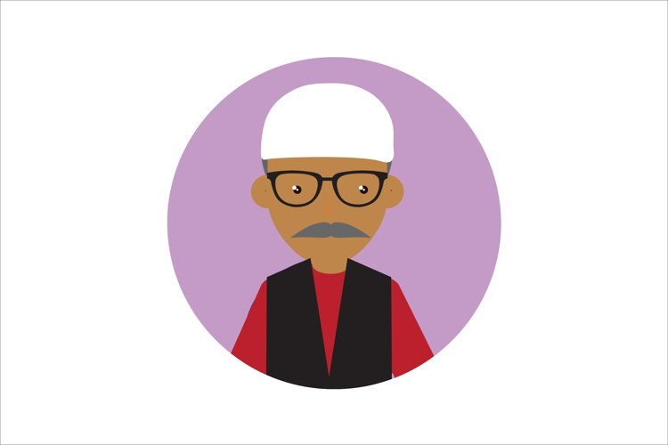 Icon Character Muslim Man with Glasses example image 1