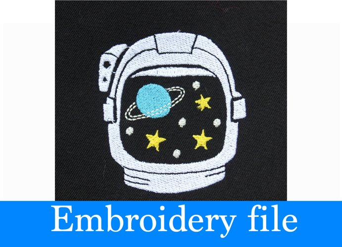 """Astronaut Helmet Embroidery file - PES file format 2.5""""x2.79"""" - Can resize and convert to another format - Hand drawing design"""