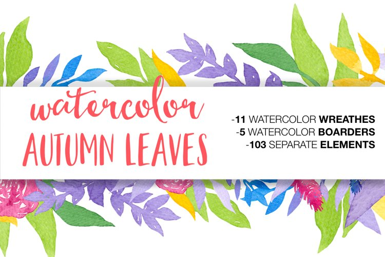 Watercolor Autumn Leaves example image 1