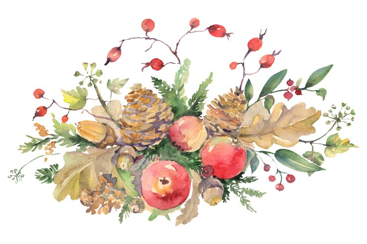Autumn bouquet Watercolor png example image 1