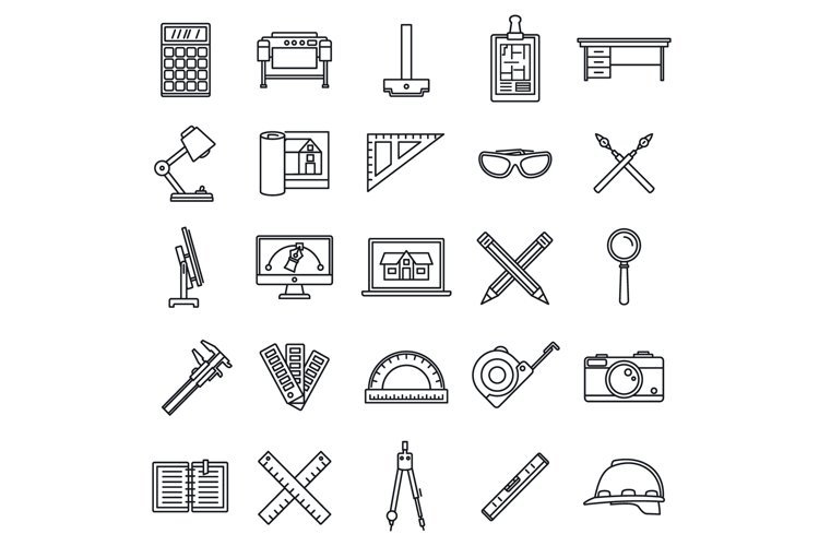 Architect material tool icons set, outline style example image 1