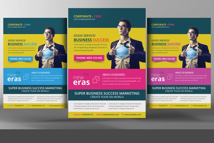 Multi colors corporate flyer example image 1
