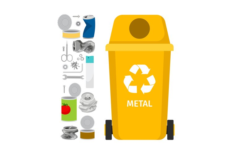 Yellow garbage can with metal trash example image 1