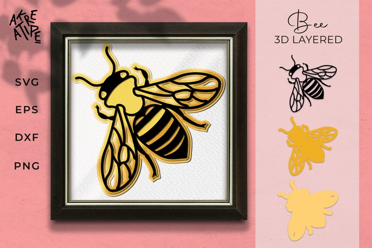 3D Bee Animal SVG | Bee 3D Layered SVG