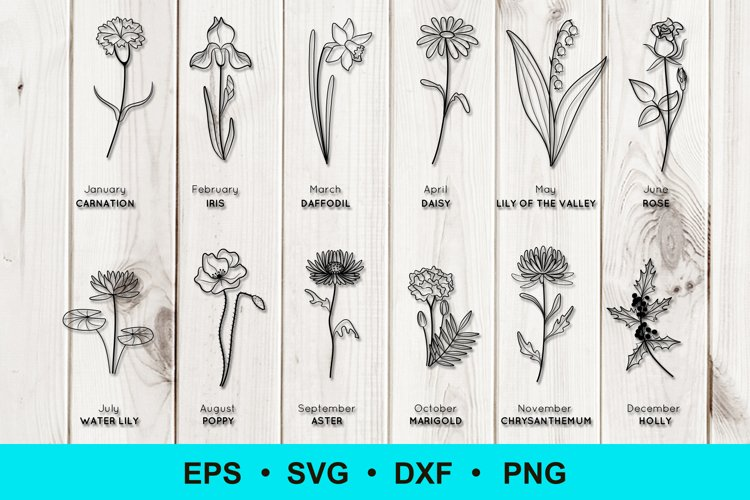 Birth Flowers Clip Art | Vector Files example image 1