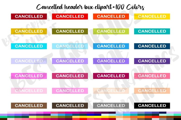 100 Cancelled header box clipart set, Planner stickers example image 1