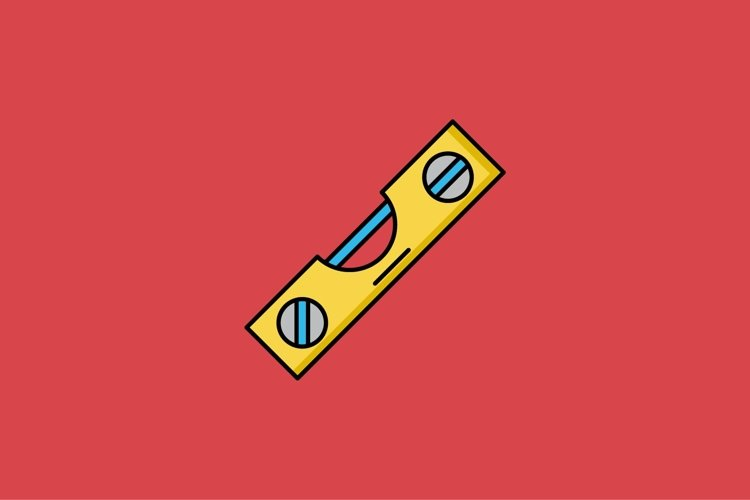 spirit level filled outline Icon. construction and tool