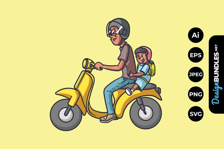 Father and Daughter Riding Motorcycle Illustrations