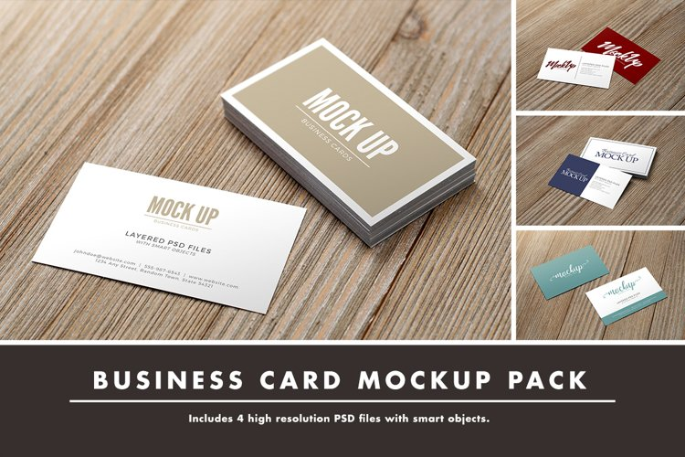 Business Card on Wood Mockup Pack