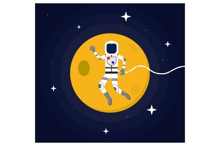 Astronaut floating in Outer Space flat design concept example image 1