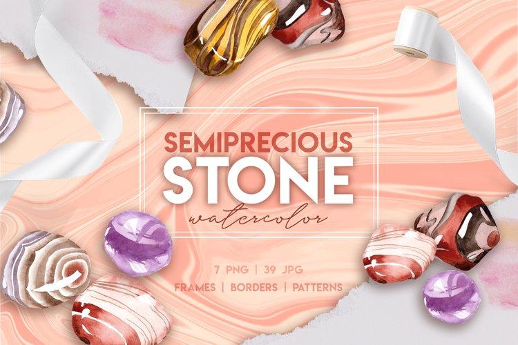 Semiprecious stone watercolor PNG set  example image 1