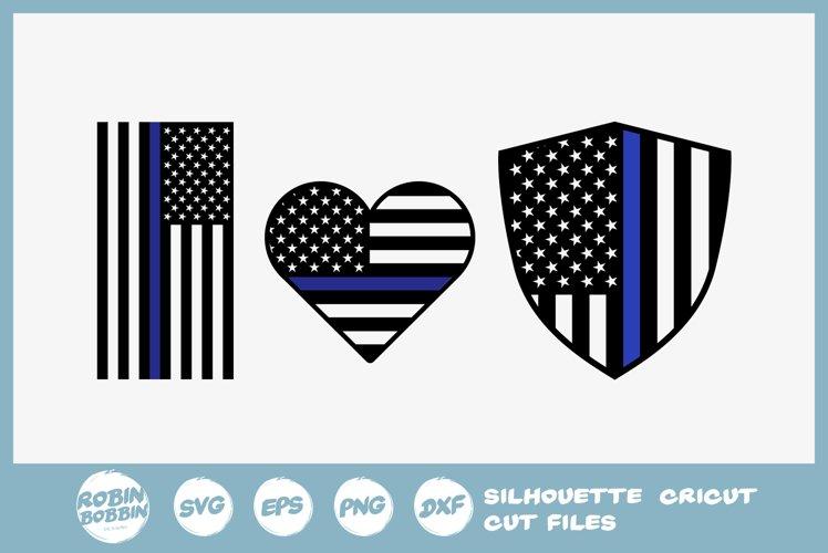 Police Flag SVG - Police Heart SVG - Police Badge SVG