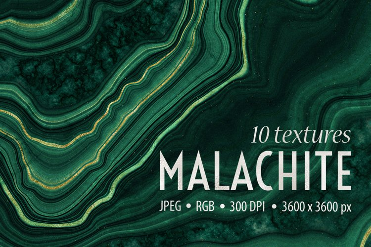 10 Malachite & Gold Mineral Textures - Geode Backgrounds
