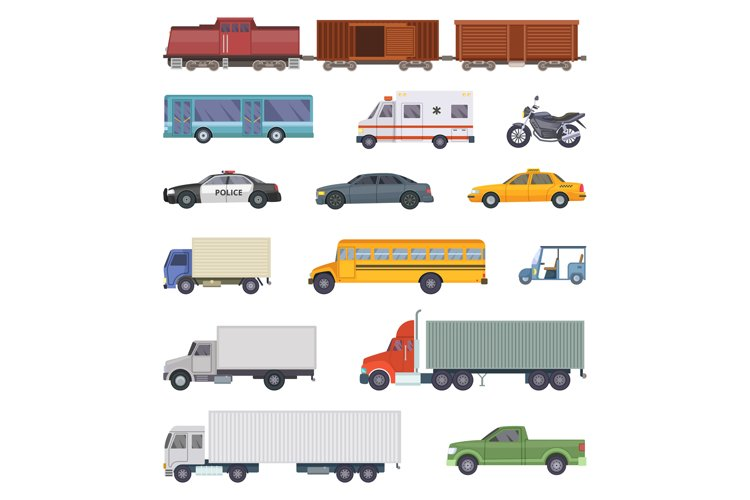 Vector illustration of automobile, trucks and motorcycles is example image 1