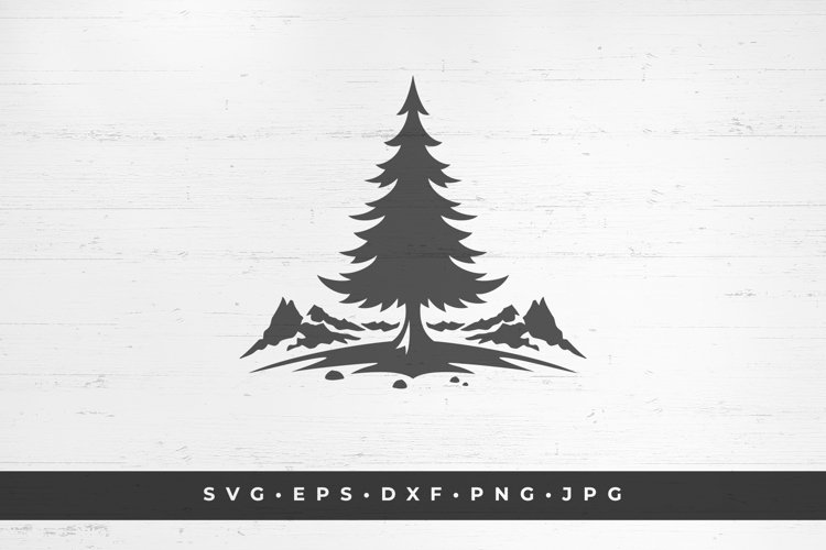 Mountain landscape with spruce. vector illustration example image 1