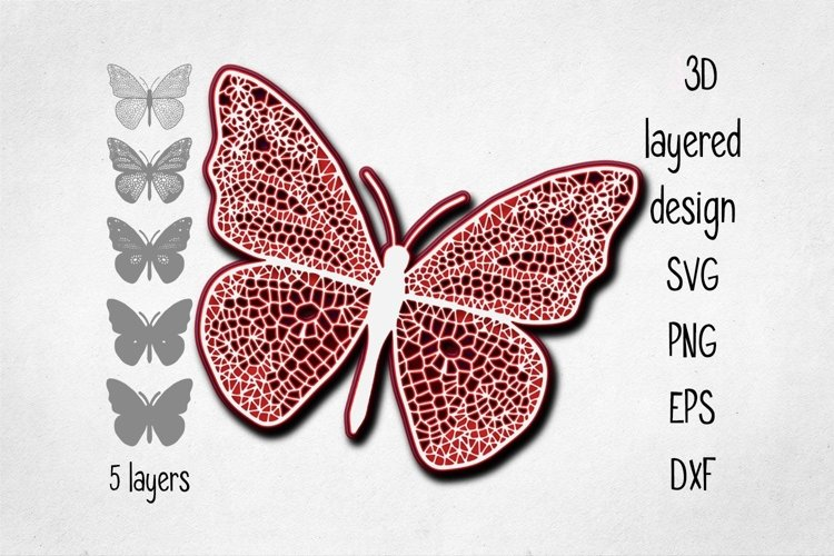 3D layered Butterfly Cut file example image 1
