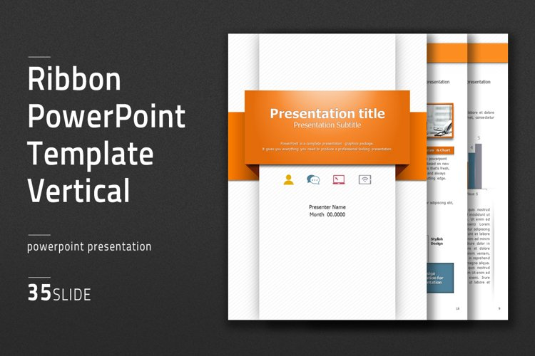 Ribbon PowerPoint Template Vertical example image 1