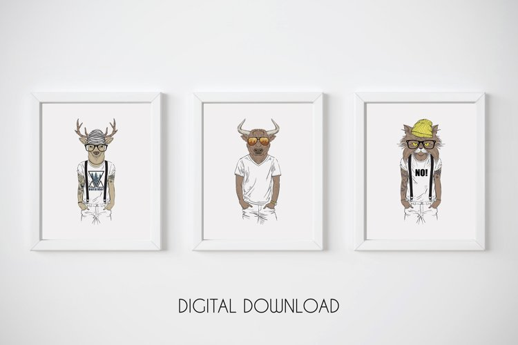 Hipster Wall Art, Funny Animal Prints, Hipster Animals example image 1