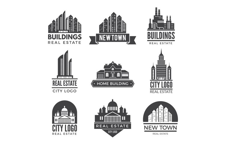 Labels or logos with pictures of different modern buildings example image 1