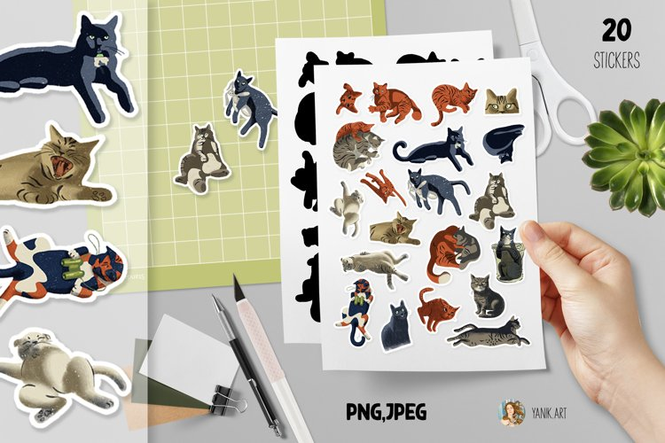 Cat stickers for planners or bullet journals, print and cut