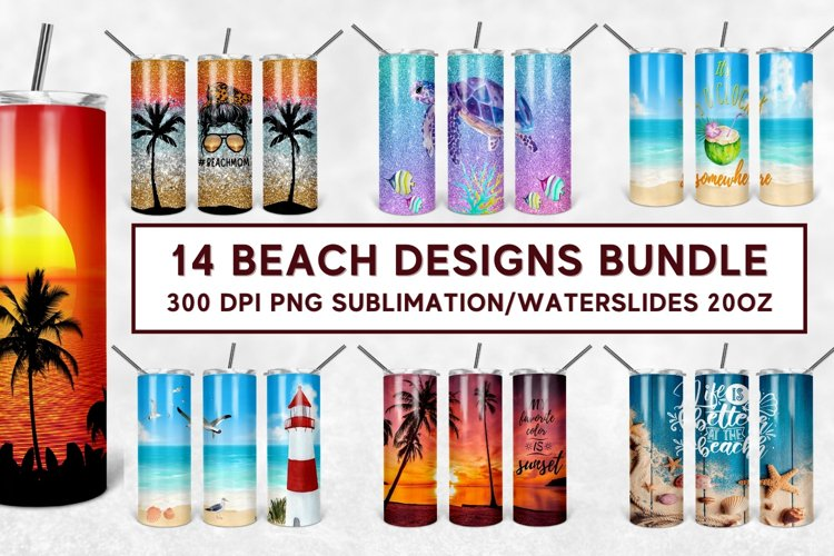 Summer Ocean Beach Tumbler Sublimation Design 20oz - PNG