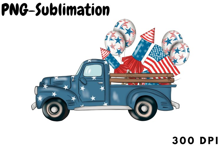Truck With Fireworks | USA Flag Sublimation