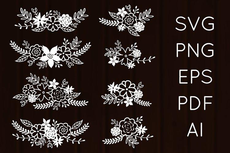 Flower Leaf Compositions, Floral Bouquets SVG Cut, PNG, EPS
