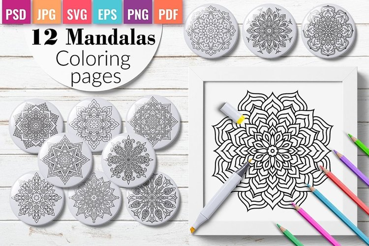 12 Mandalas Coloring pages for adults and kids