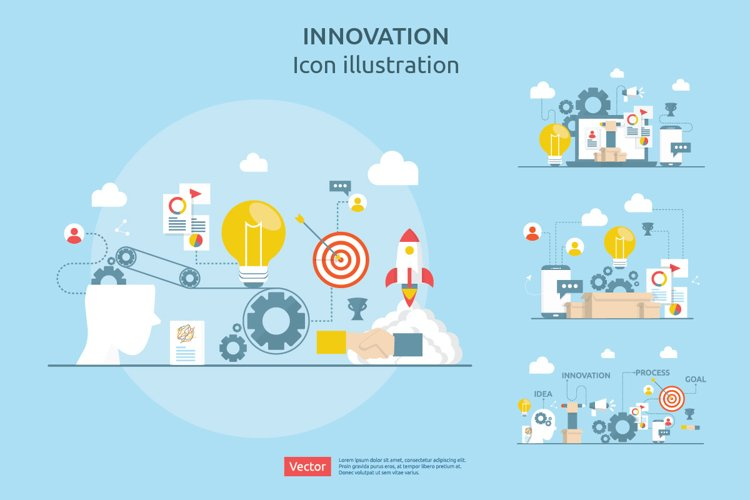 4 items vector Illustration of idea innovation process example image 1