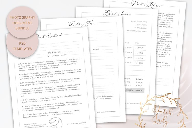PSD Photography Document & Form Template Bundle #2