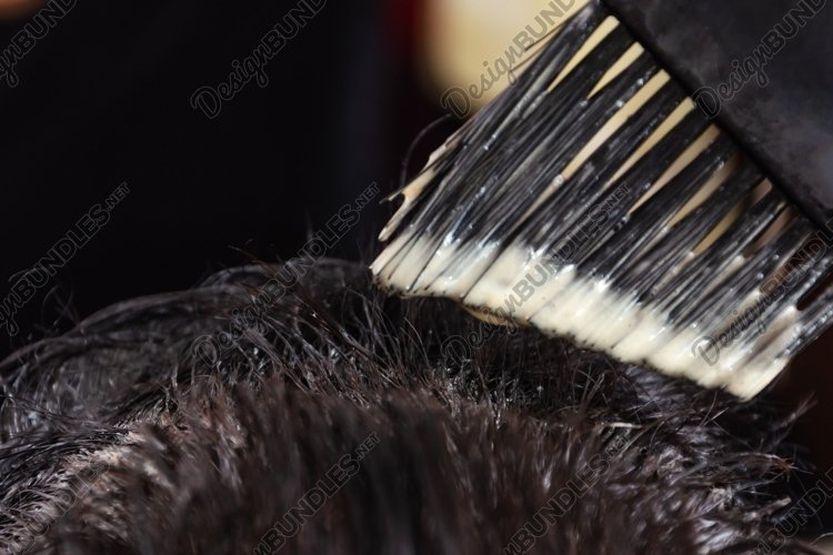 Hair coloring at home. Application of hair dye to hair example image 1