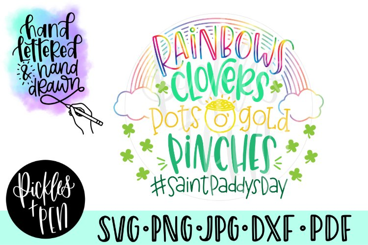 Kids St Patricks Day SVG - Rainbows Clovers