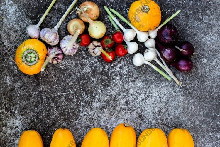 fresh organic vegetables on a gray background example image 1