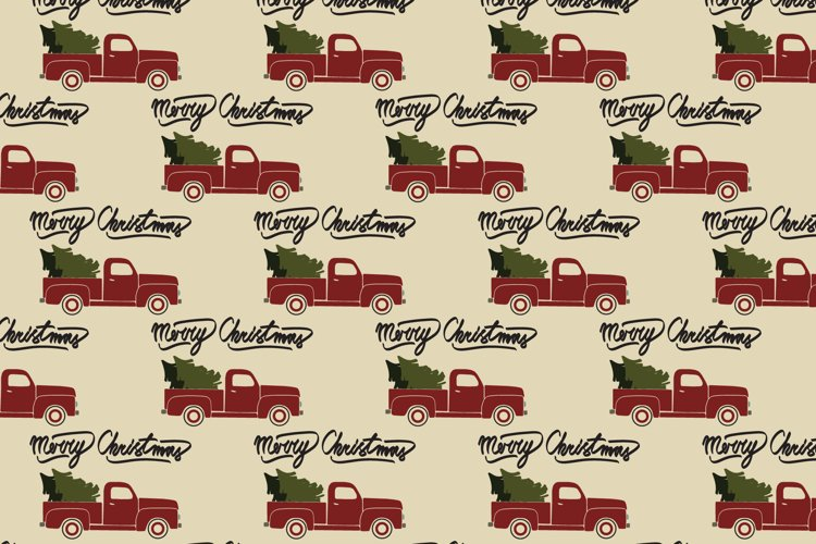 Red christmas vintage retro pickup truck. Seamless pattern. example image 1