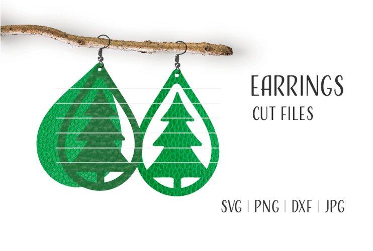 Christmas Tree Earrings Svg, Earrings Template example image 1