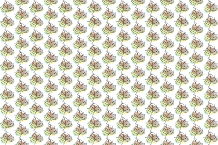 Vector Tropical Line Art Leaves Pattern Background.