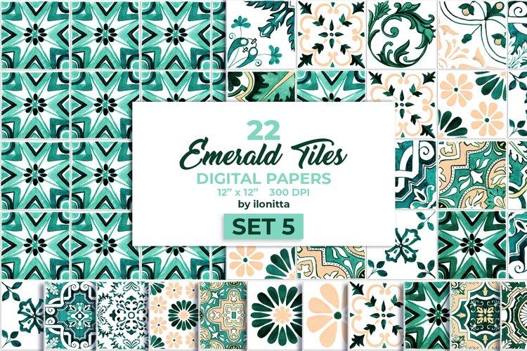 Emerald Azulejo Tiles Digital Papers Set 5 example image 1