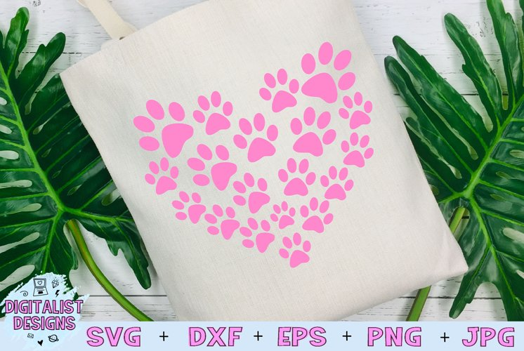 Pawprint Heart SVG example image 1
