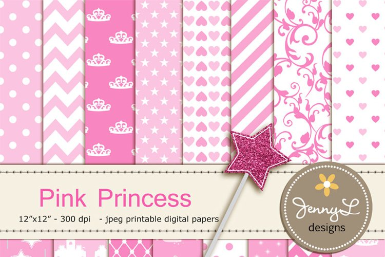 Pink Princess Digital Papers, Magic Wand Clipart, Glass Slippers, castle Pink Birthday theme Princess Party, Stars Sparkles Clipart example image 1